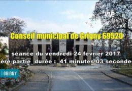 Conseil municipal de Grigny (69520) séance du 24 février 2017 partie 1  ORDRE DU JOUR